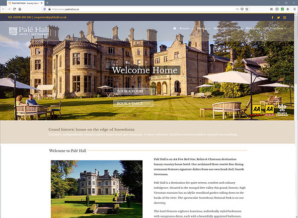 Pale Hall Hotel web site