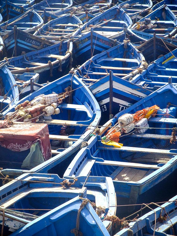 Blue boats Essaouira Morocco