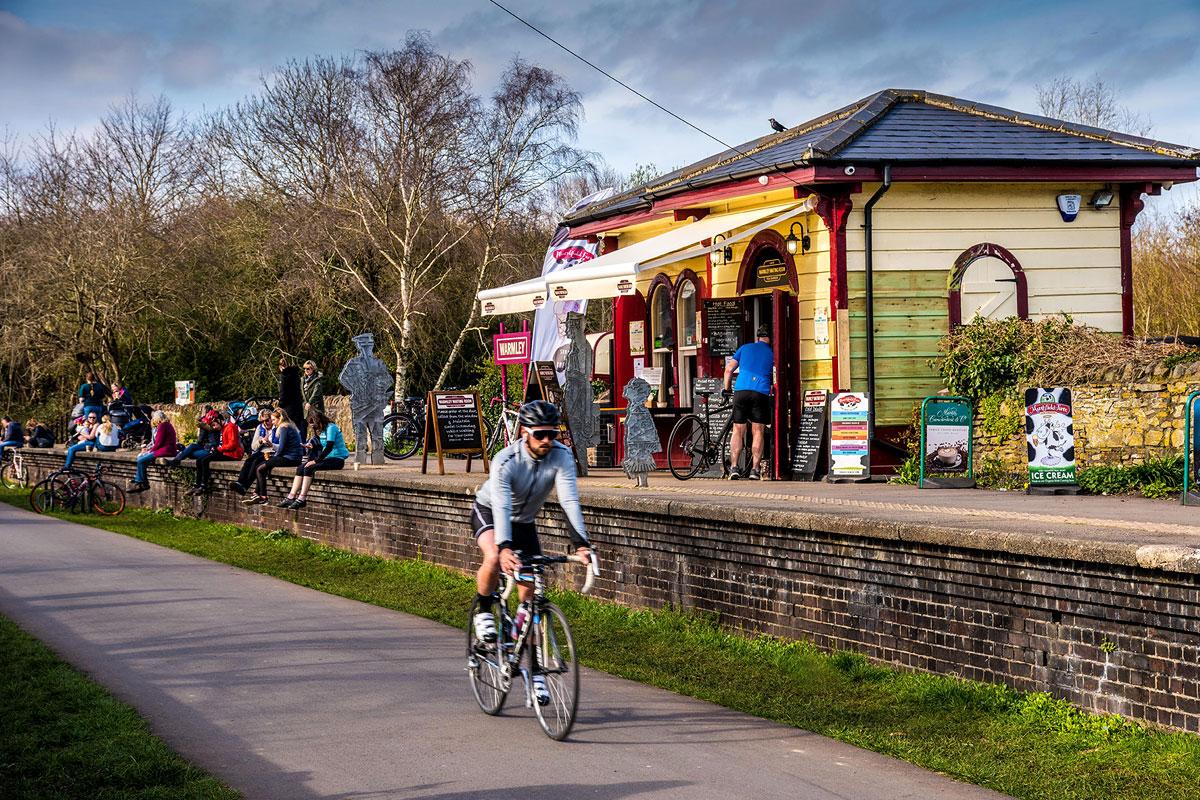 Bristol Bath railway cycle path Warmley station cafe.