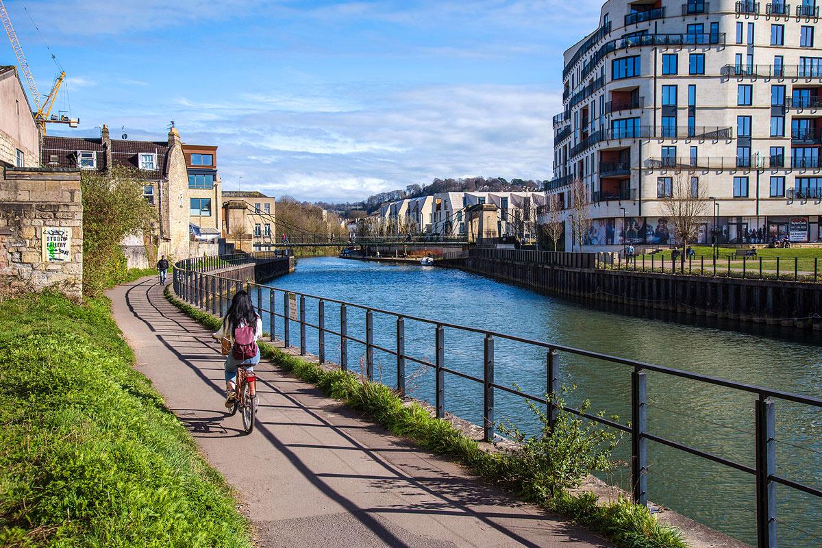 Cycling by Bath riverside